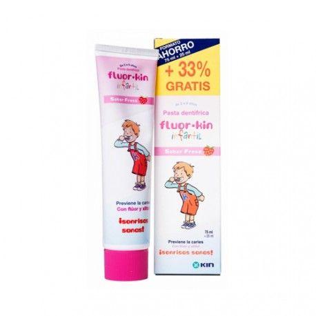 Fluor Kin Pasta Dental Infantil Sabor Fresa 75 ml. + 25 ml.