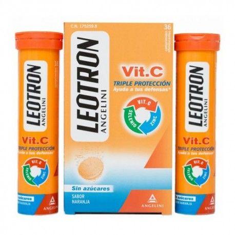 Leotron VIT-C Triple Protección Sabor Naranja 36 Comprimidos Efervescentes