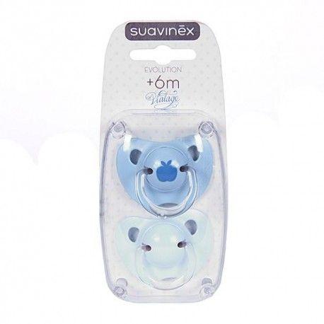 Suavinex Chupete Vintage Azul Anatómico Látex +6M 2 Unidades