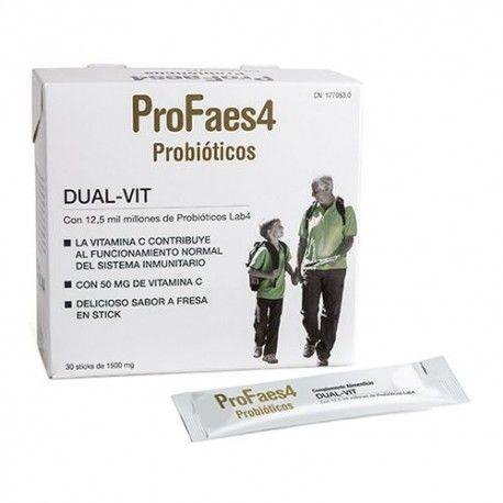 ProFaes4 Dual-Vit Probióticos Sabor Fresa 30 Sticks