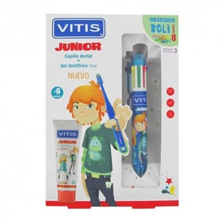 Vitis Junior Cepillo Dental + Gel Dentífrico + Bolígrafo de Colores