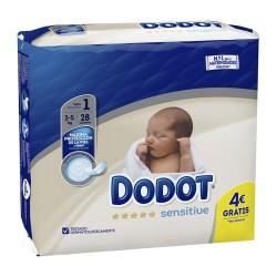 Dodot Sensitive Pañal Recién Nacido Talla 1 2-5 kg. 28 Unidades