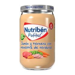 Nutribén Potitos Jamón y Ternera Con Menestra de Verduras 235 gr.