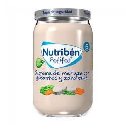 Nutribén Potitos Suprema de Merluza Con Guisantes y Zanahorias 235 gr.